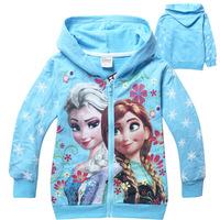 2014 autumn new baby girls frozen elsa anna zipper hoody kids terry Sweatshirts children long sleeve outwear with hat blue TM33