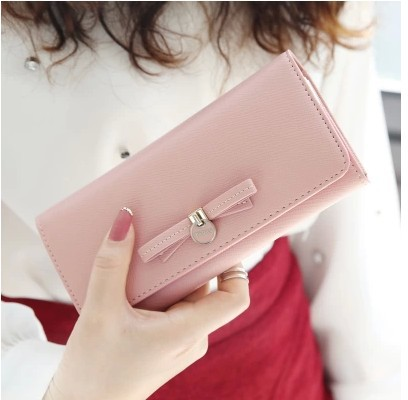 2014 new arrival women wallets original fashion cross pattern bowknot pendant long design women's wallet fee shipping(China (Mainland))