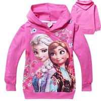 2014 autumn new baby girls frozen elsa anna hoody kids terry Sweatshirts children long sleeve outwear with hat pullover TM23