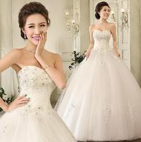 Fashion Sexy Tube Top Lace Wedding dress 2014 Bride Slim Sweet Princess White wedding dresses vestido de noiva bridal gown W43