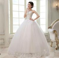 Fashion New Elegant Plus Size Wedding dress 2014 Bride Ball Gown Lace White wedding dresses vestido de noiva Bridal Gown W44