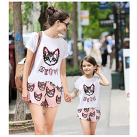 2014 Hot Sale Family Clothing Set Mother and Daughter Clothes Kids Clothing Sets roupas de crianca roupas para meninos