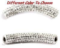 micro pave disco bead white blue black mixed multi color long bending tube crystal shamballa beads.bead for bracelet