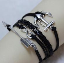 6PCS/Lot 2014 New Antique Silver Cupid Arrow,Infinity,Anchor Charm Vintage Bracelet Wax Cord Leather Braid Bracelets Bangles