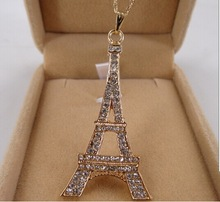 Violetta/eiffel tower pendants necklaces/collier women fashion 2014 crystal necklace jewelry/colar/bijoux/collar/bijuteria/joyas