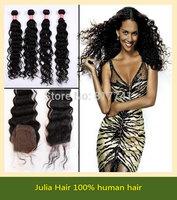 Good quality Brazilian Virgin Hair 5pcs lot Deep Wave 1pc Lace Closure With 4pcs Bundles Unprocessed Human Hair Weft Extension