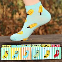 female socks slippers sock fruit socks cotton 100% cotton cartoon socks candy color