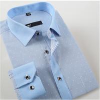 New 2014 men  Business   dress  slim fit  shirt    long Sleeve  polka Dot   stripe  shirts  1001-9  XS S M L  XL XXL XXXL