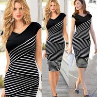 women summer dress 2014 women casual dress Sexy Party Pencil Dress Multi-Stripe Stitching Short Sleeve women work wear dress N59