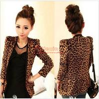 HOT Fashion Girls Sexy Grain Slim Women's Leopard Blazer Suit Coat Jacket S M L Free shipping