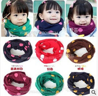 Free Shipping Winter New Stock Baby Dot print knitted scarf ring Babie Soft therminal children Scarve Rings