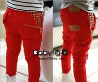 Free shipping 2014 han edition children's wear orange double zipper elastic children boys girls leisure trousers