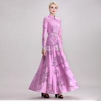 New 2014 Autumn Woman Peter Pan Collar long sleeve Maxi dress Women vintage Hollow Out lace dress plus size S M L XL XXL