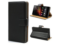 Book Flip Genuine Leather Wallet Case Cover for Sony Xperia Z L36h Mobile Phone Pouch Bag with Card Holder and Stand
