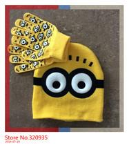 1set Free shipping baby boys 2014 Children Dave cartoon winter knitted hat and gloves children's cap set of winter children(China (Mainland))