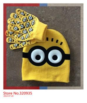 1set baby boys 2014 Детский Dave cartoon winter Вязанный hat and gloves Детский's ...