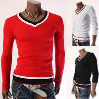 Men's Stylish V Neck Slim Kmitted  Long Sleeve comfortable Dress Shirts
