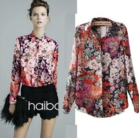 Promotional 2014 Autumn New Arrival Women's Fancy Floral Print Long-sleeve Loose Chiffon Blouses(S,M,L,XL)