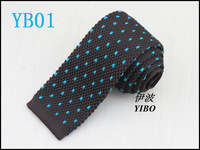 men's brown knit tie/Heart-shaped lake blue dot pattern/Retro Style fashion trendy big boy necktie  free shipping