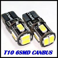 2014 NEWS !! Free shipping 100PCS/lot Car Auto LED T10 194 W5W Canbus 6smd 5630 5730 LED Light Bulb No error led light