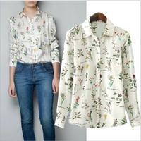 Hot Selling 2014 Autumn Lady's Fashion Flowers Print Long-sleeve Loose Chiffon Blouses White Plus Size Shirts(S,M,L,XL)