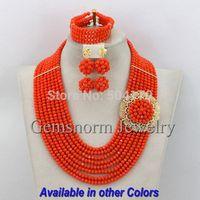 Orange African Beads Jewelry Set Nigerian Beads Jewelry Set for Wedding 2014 Fashion Jewelry Set Free Shipping GS379