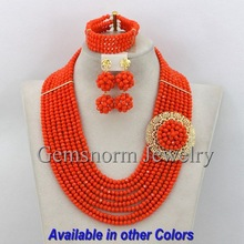 Orange African Beads Jewelry Set Nigerian Beads Jewelry Set for Wedding 2014 Fashion Jewelry Set Free