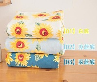 New blue Cute sunflower linen cotton patchwork fabric quilting sewing home textile material 140cm wide 1 yard Freeshipping