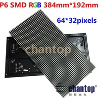 P6 RGB video led module 384*192mm 64*32pixels SMD full color LED display board 1/16 scan drive indoor LED screen unit Free Ship