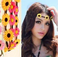 Wholesale - Sunflower Head ornaments Hair band accessories Bohemia Sea side beach flower Many colors Unique