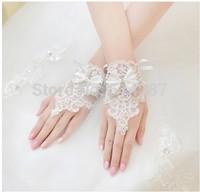 The New Korean Fashion Flower Lace Diamond Short Bridal Gloves Wedding Dress Short Paragraph Mitts Accessories
