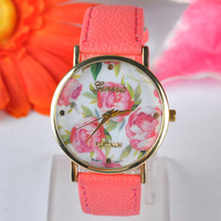 Ladies quartz watch with flower leather strap Geneva wristwatch for women dress JD351