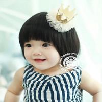 8 Colors Girl Hair Accessories Princess Style Children Head Wear Lace Headband Baby Cute Hair Clip Pearl Crown Hairband