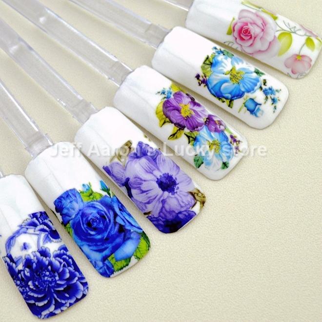 12 pezzi acqua adesivi per unghie trasferimento decalcomanie per la nail art punte decorazioni strumenti di bellezza disegno del fiore