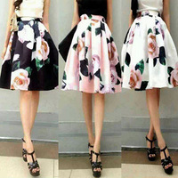 Rose flowers print elegant cute sweet ladies skirts for promotion girls wearing summer spring hot sale in 2014 new fashion