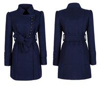 Winter Coat Women Outwear Woollen Coat Women Long Trench Coats with Belt Woman Slim Outwear 2014
