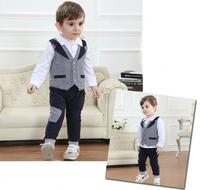 wholesale 4sets/lot 1-4Y children clothing sets New 2014 kids pajamas baby clothes for boys 3pcs boy's sets(vest+t-shirt+pants)