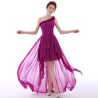 Fashion One Shoulder Formal Long Design Flowers Chiffon Former Short Gown Asymmetrical Evening Dress LF341
