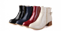 2014 New Autumn & Winter fashion western trends rivet short ankle boots 4cm heel martine boots for women 4colors SIZE 31-43