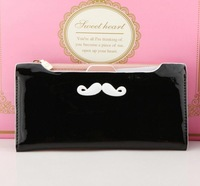 2014 new wave  fashion solid color mustache handcuffed paint bright skin wallet Ms. Long Wallets women lady purse card WBG0996