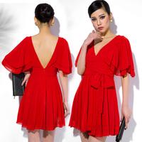 2014 New Europea style elegant summer chiffon dress Slim thin high waist chiffon party dresses V-neck short-sleeved vestidos