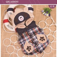 2014 Cartoon Bear Children Boy Girls 'Autumn Winter Hoodies Vests Kids' baby Cotton-padded Plaid Waistcoat With Hood Outfit