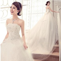 Fashion New Sweet Vintage Wedding dress 2014 Sexy Strapless Bow Tailing Mermaid Wedding dresses vestido de noiva bridal Gown W45