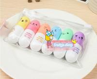 new Free ship 1lot=10sets/korean stationery kawaii cute The pill shape fluorescent pen  Lovely expression highlighter gel pen
