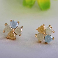 Free Shipping Hot Sells Fashion Cute Sweet 18K Gold Plated Flower Shaped Stud Earrings For Women