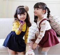 Quality Children's Sets Korean Pure Cotton Bowknot T Shirt + Suspender Skirt 2pcs Girl Suit Kids Skirt Set Child Clothing GX832