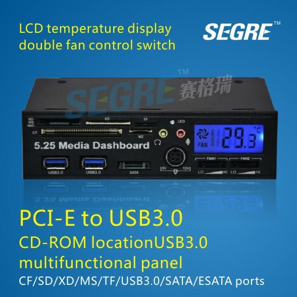 """5,25"""" alle in 1 front panel usb 3.0 kartenleser für sd/XD/MMC/MS/vgl. mit lcd-display."""
