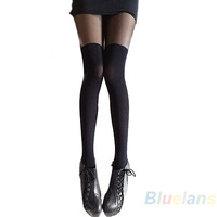 Black Mixed Colors Gipsy Mock Ribbed Over the Knee Tights Thigh High Pantyhose  05WP
