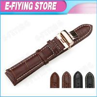 18mm Genuine Leather Bracelets for Tissot Brown Watchband for Longines Rose Gold Buckle Strap Watch Bracelets for Invicta Hours