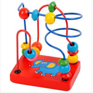 2014 New Children Kids Baby Colorful Wooden Mini Around Beads Educational Game Toy HT93100MU(China (Mainland))
